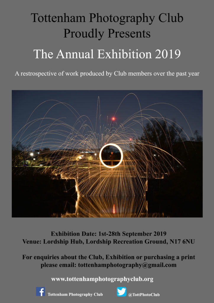 Poster advertising our annual club exhibition for 2019.