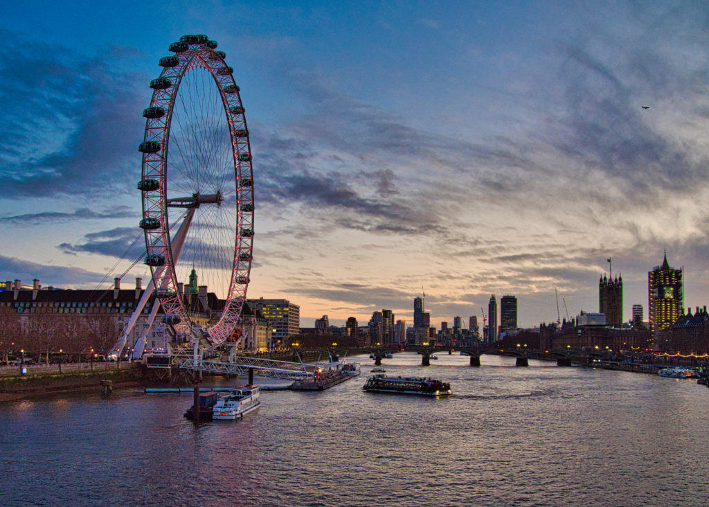 View of sunset over the Thames and London Eye