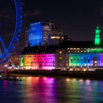 County Hall lit with rainbow coloured lights